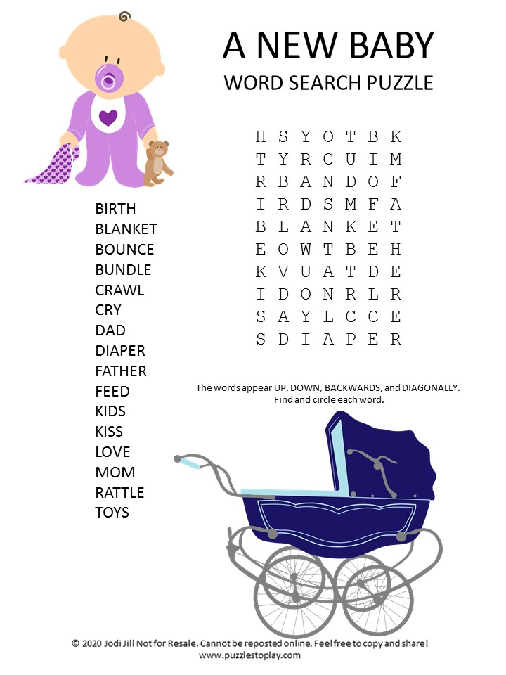 new baby word search puzzle