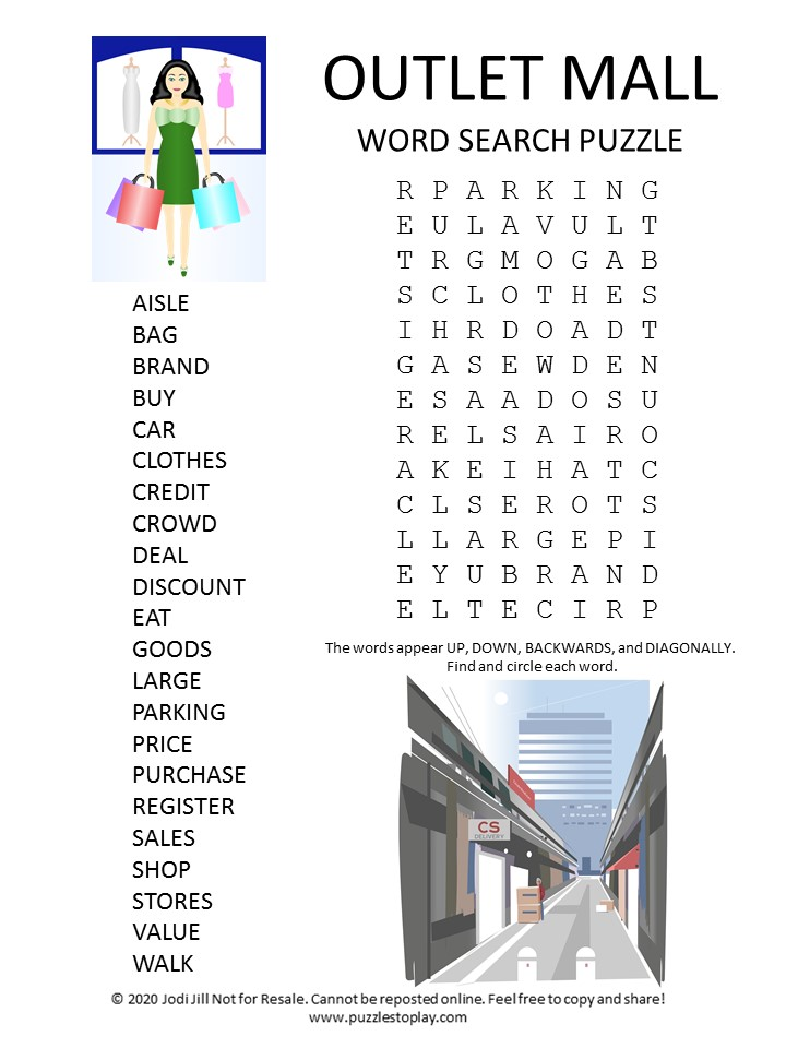 outlet mall word search puzzle