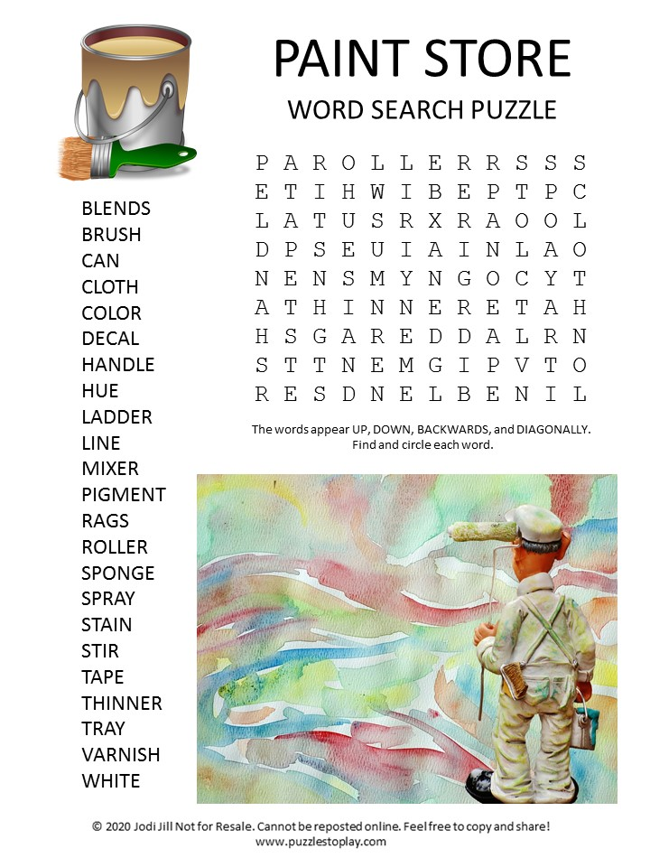 paint store word search puzzle
