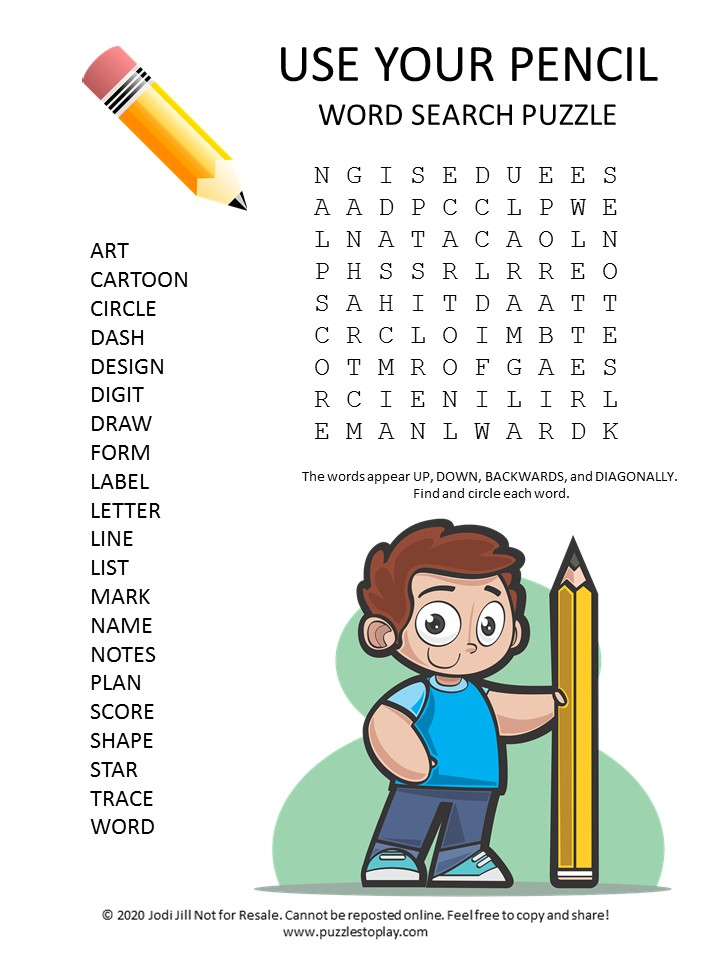 Use Your pencil word search puzzle