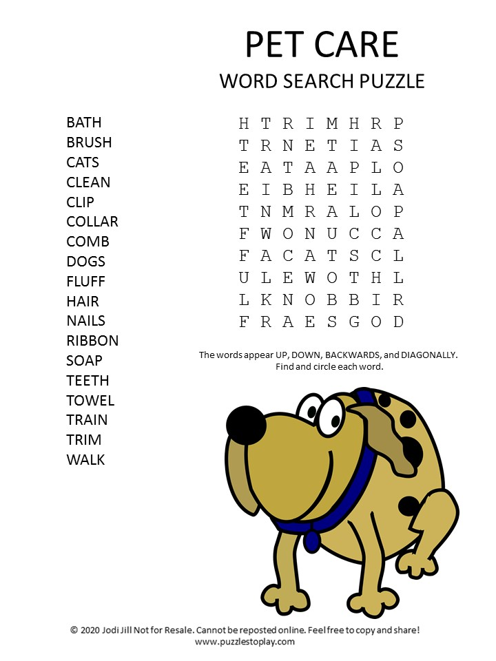 pet care word search puzzle
