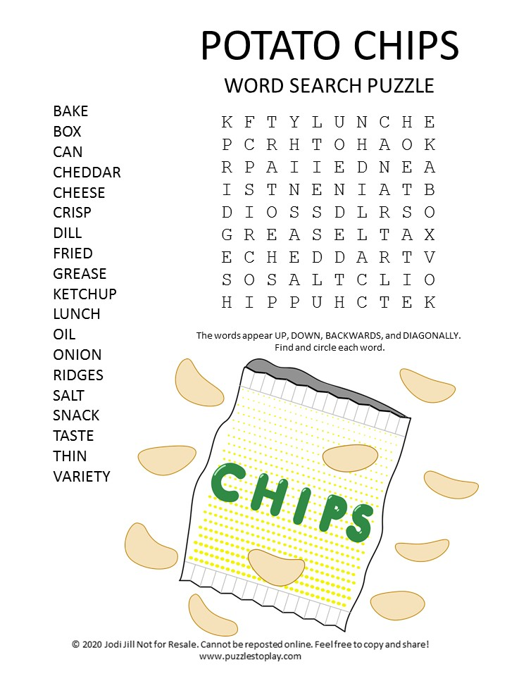 potato chips word search puzzle