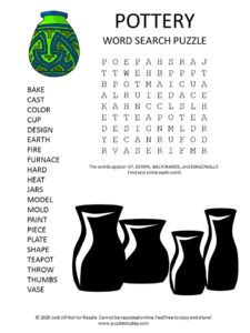 pottery word search puzzle
