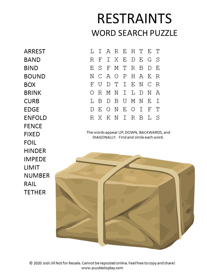 restraints word search puzzle