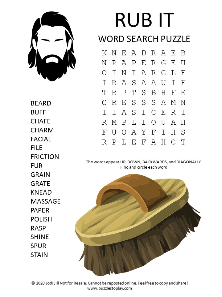 rub word search puzzle