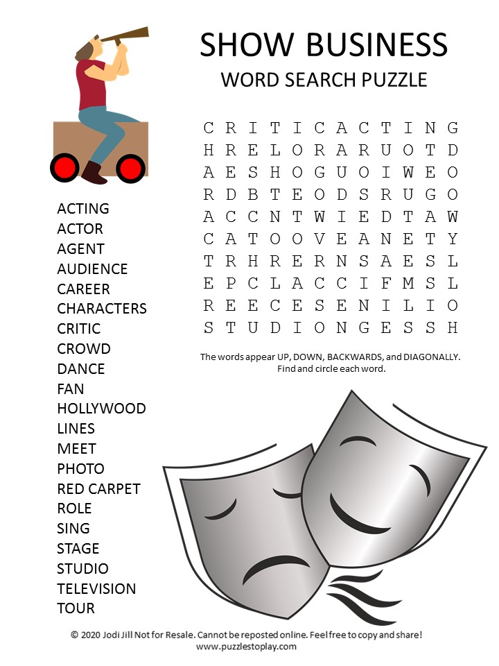 show business word search puzzle