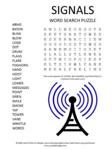 signals word search puzzle