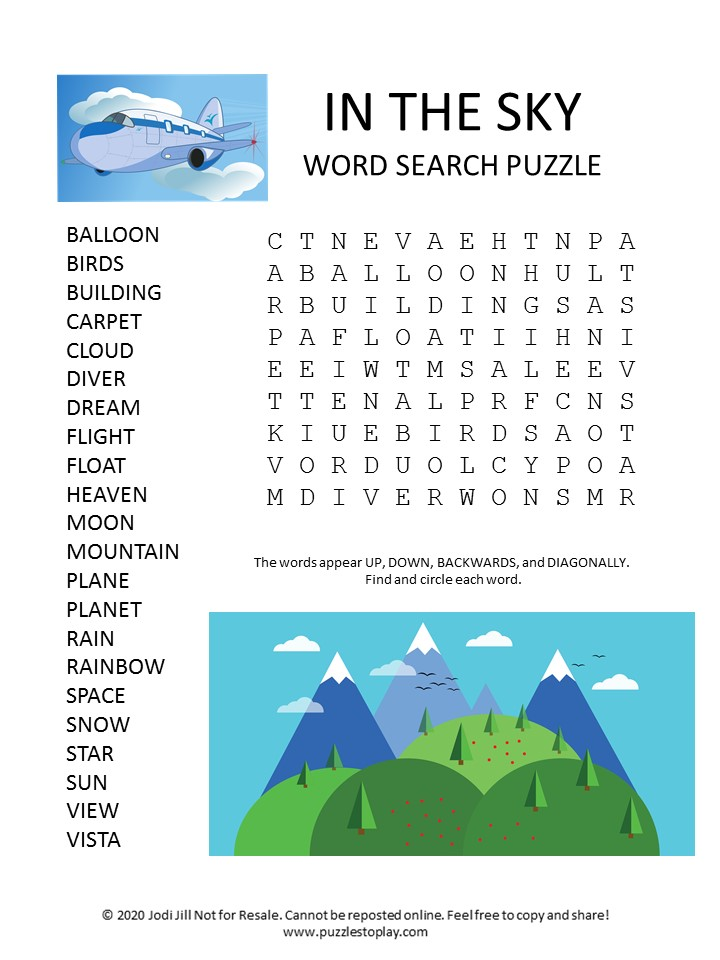 sky word search puzzle