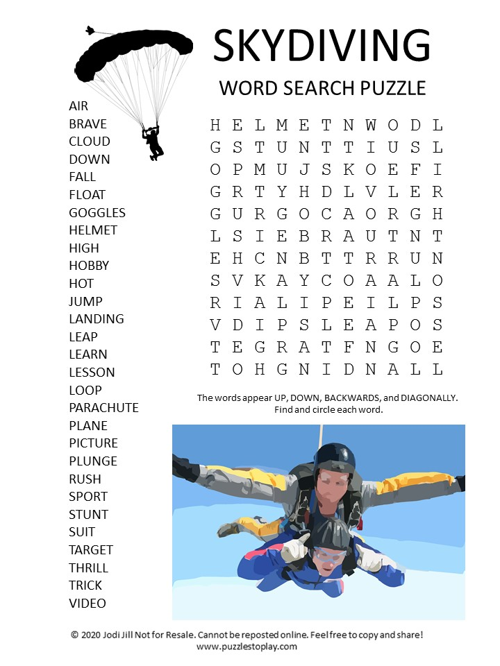 skydiving word search puzzle