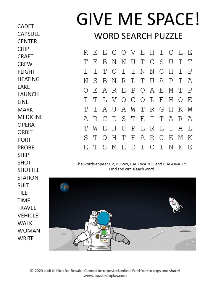 space word search puzzle