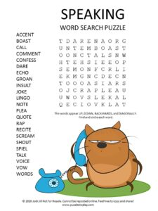 speaking word search puzzle