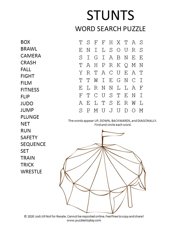 stunts word search puzzle
