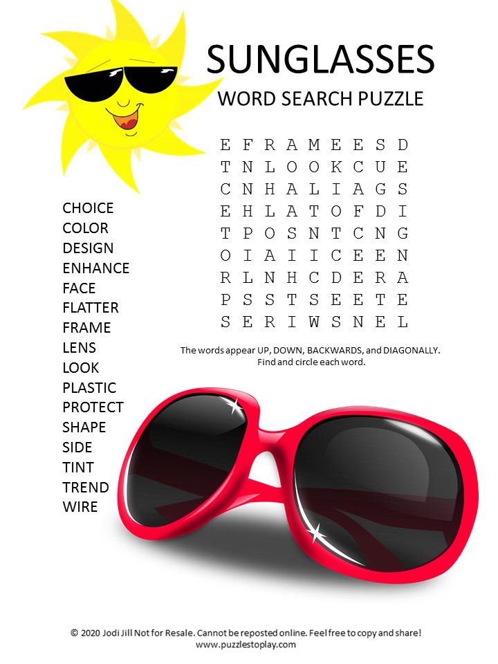 sunglasses word search puzzle