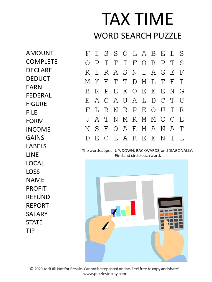 tax time word search puzzle