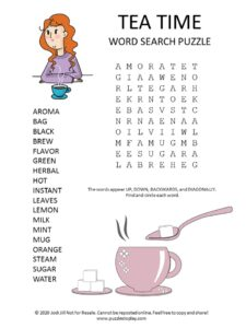 tea time word search puzzle