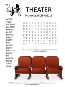theater word search puzzle