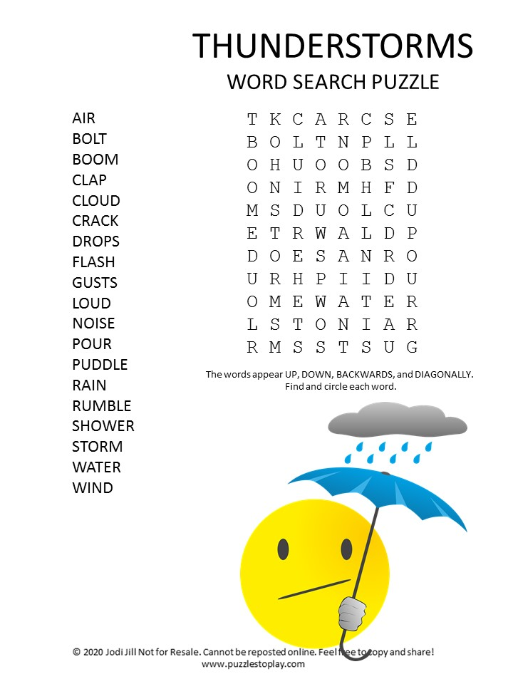 thunderstorms word search puzzle