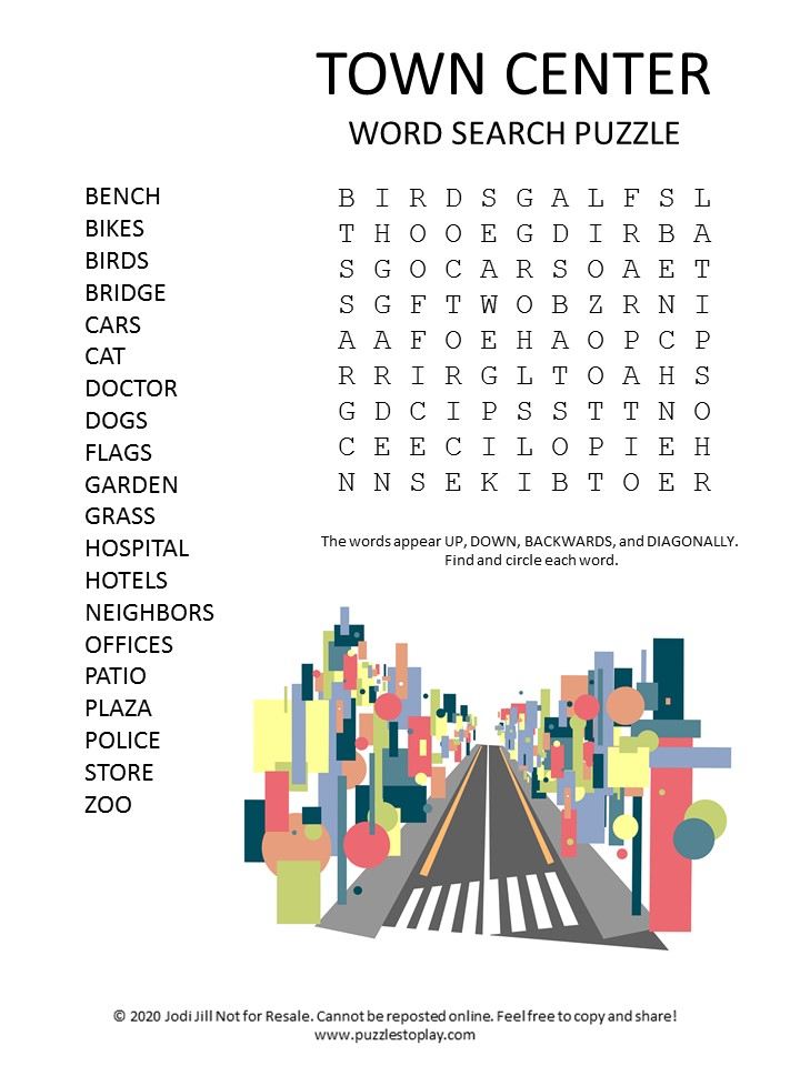 town center word search puzzle