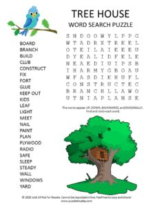 tree house word search puzzle