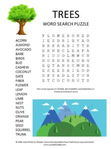 trees word search puzzle