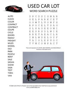 used car lot word search puzzle