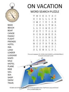 vacation word search puzzle