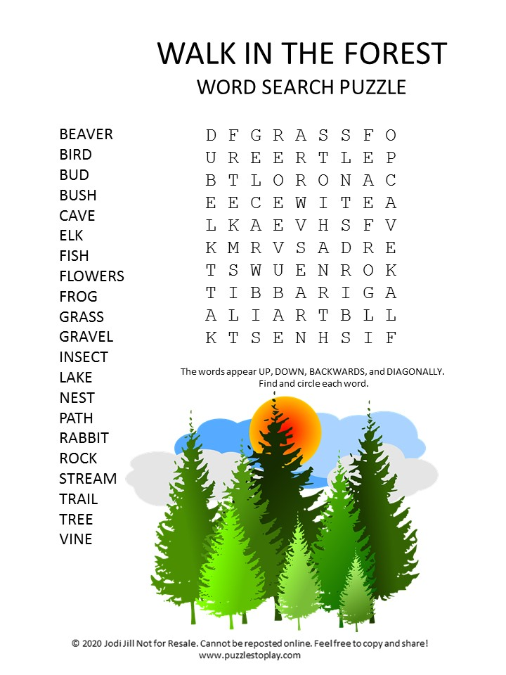walk in the forest word search puzzle