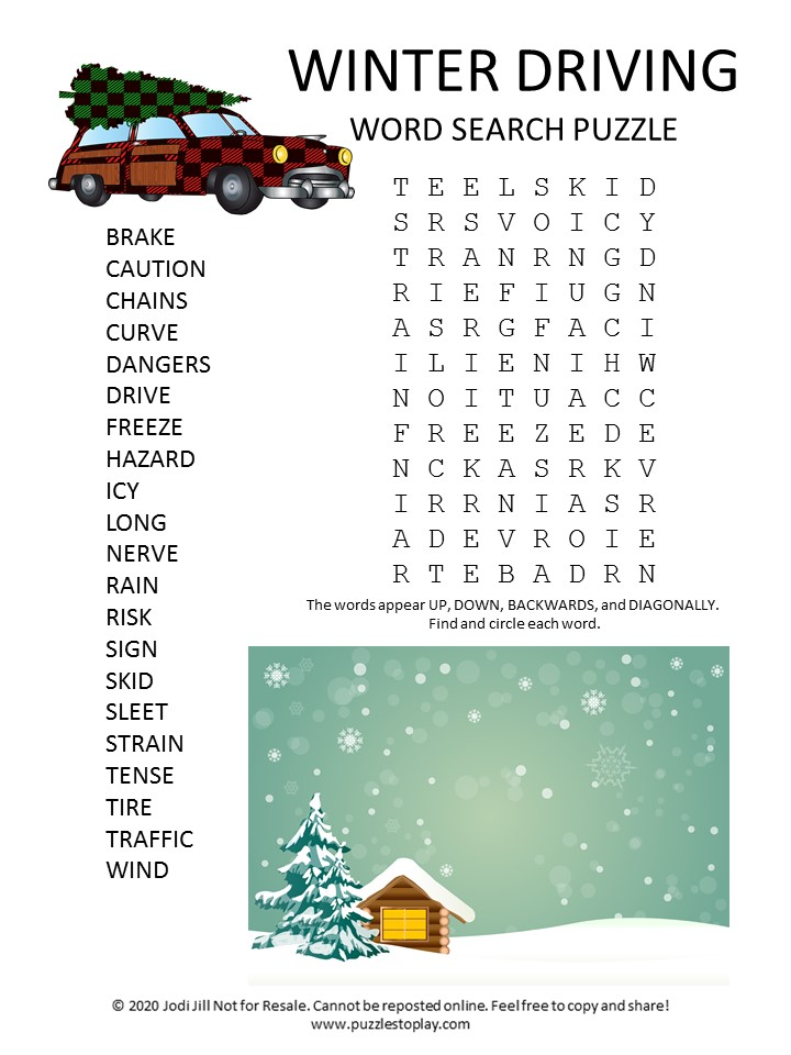 winter driving word search puzzle