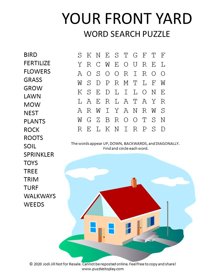 your front yard word search puzzle