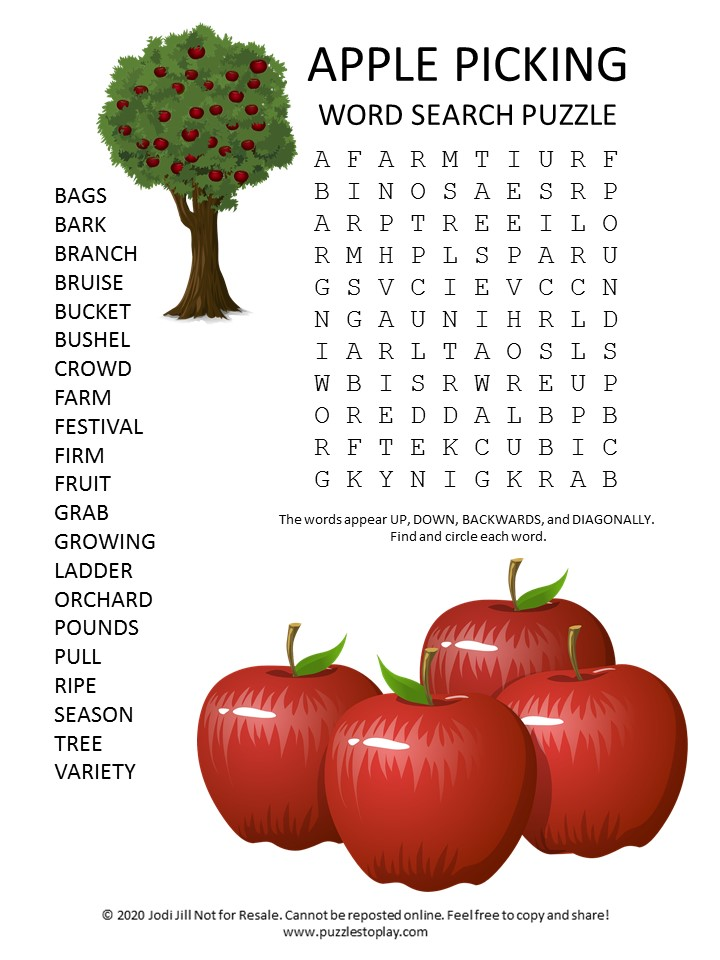 apple picking word search puzzle