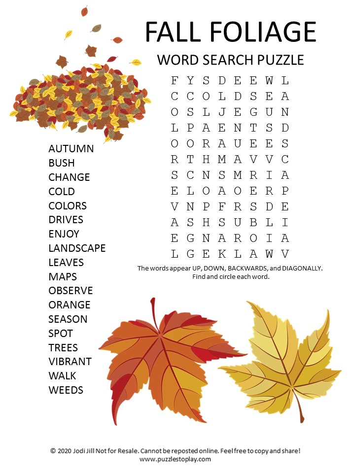fall foliage word search puzzle