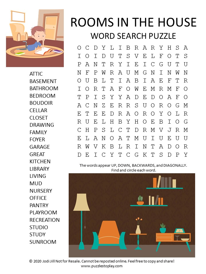rooms in the house word search puzzle