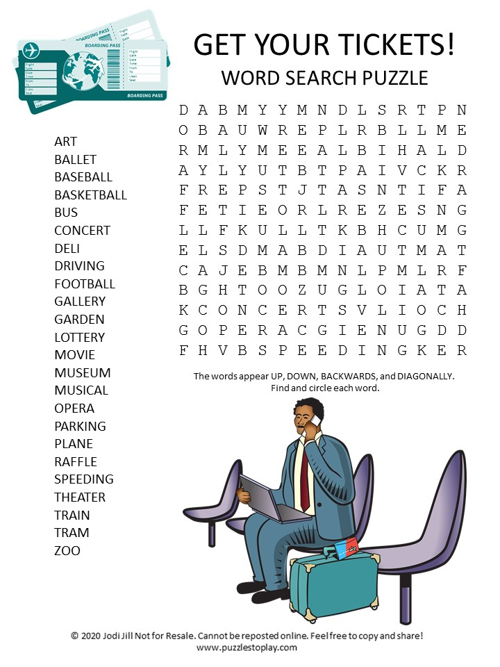 tickets word search puzzle