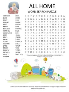 all home word search puzzle