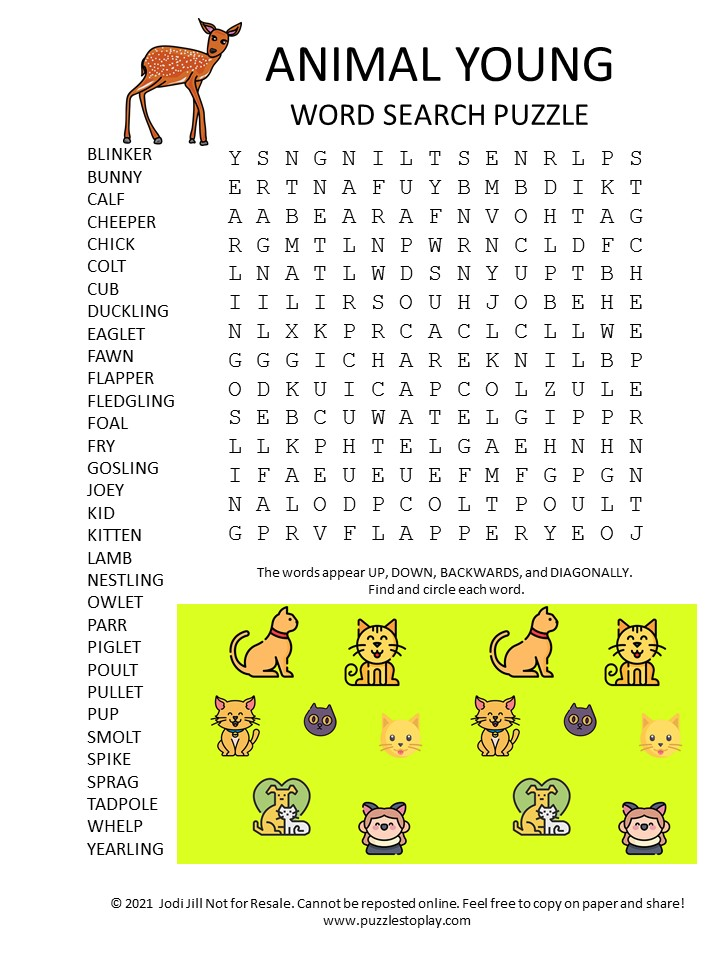 Young Animal Word Search Puzzle