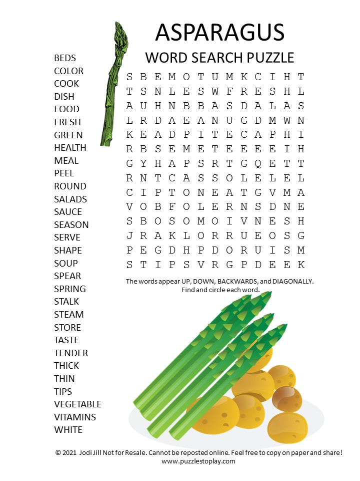asparagus word search puzzle