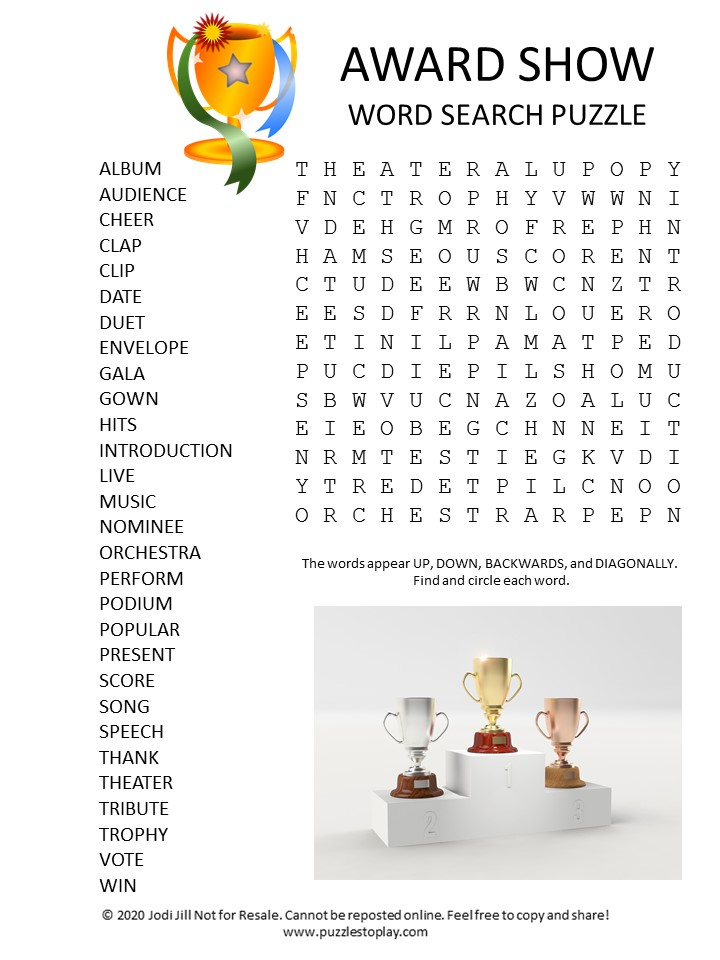 award show word search puzzle