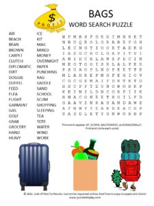 bags word search puzzle