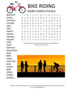 bike riding word search puzzle