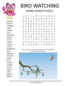 bird watching word search puzzle