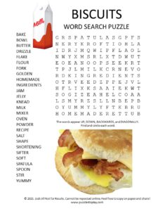 biscuits word search puzzle