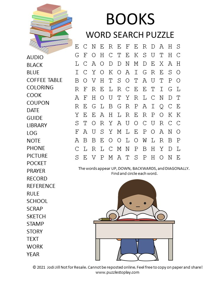 books word search puzzle