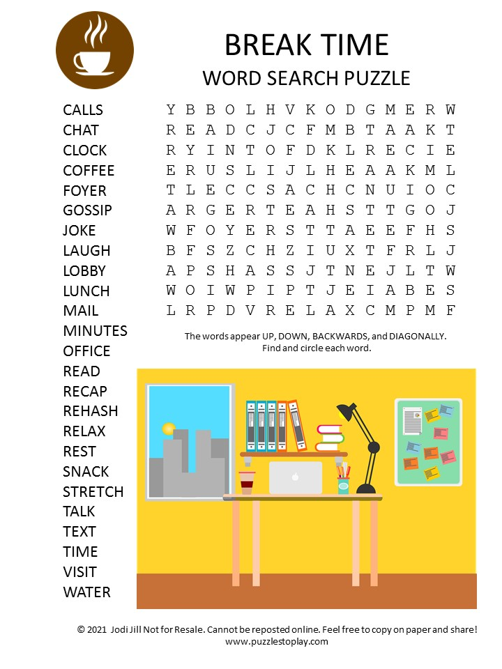 break time word search puzzle