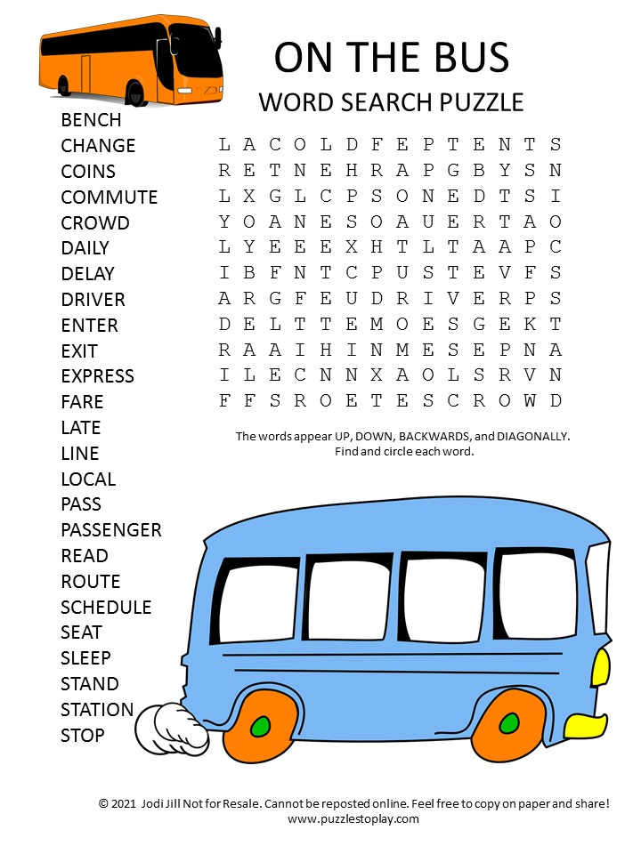 bus word search puzzle