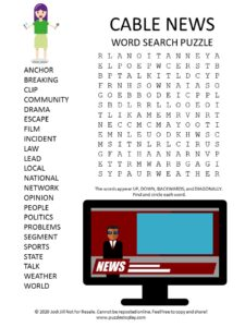 cable news word search puzzle