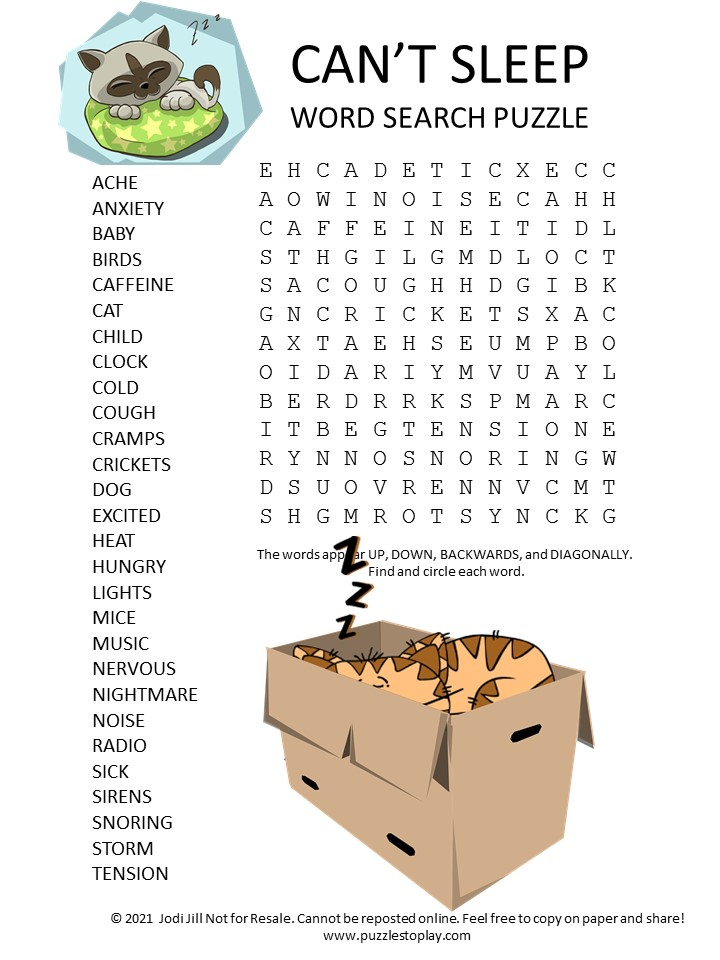 I cant sleep word search puzzle