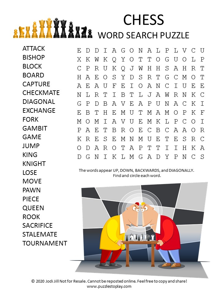 chess word search puzzle
