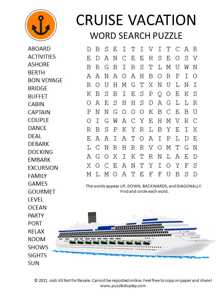 cruise vacation word search puzzle