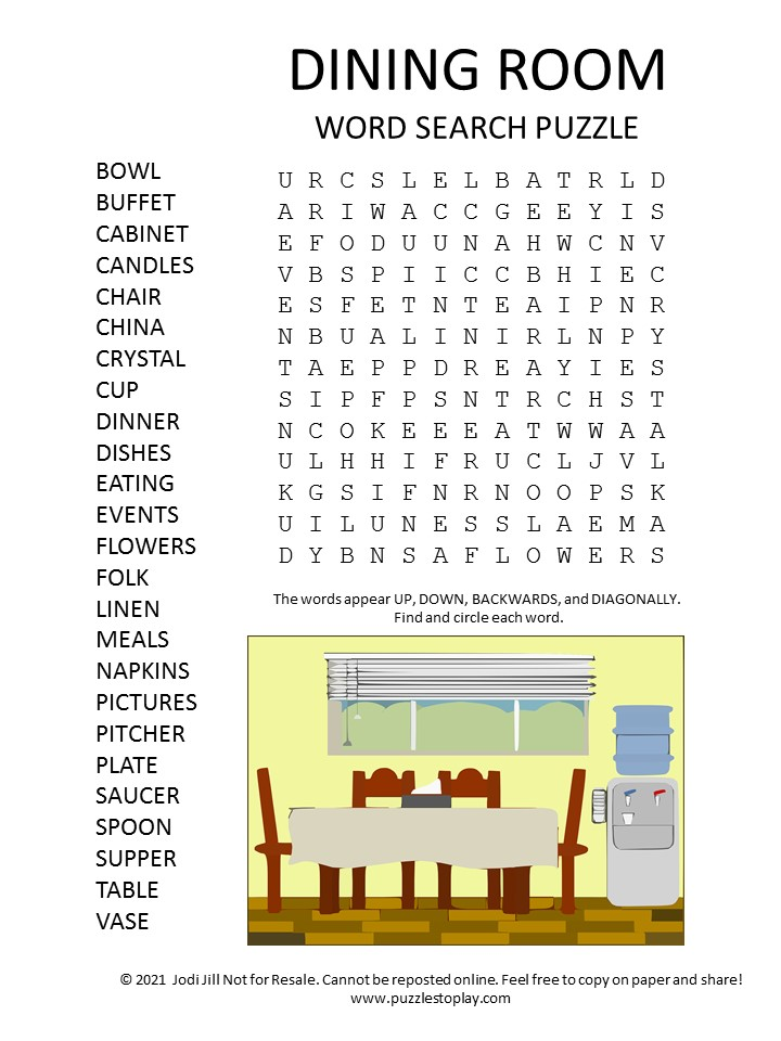 dining room word search puzzle