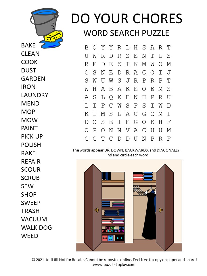 do your chores word search puzzle